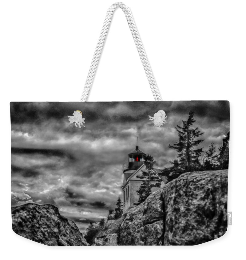 Weekender Tote Bag featuring the photograph Artistic Bass Harbor Lighthouse In Acadia by Jeff Folger