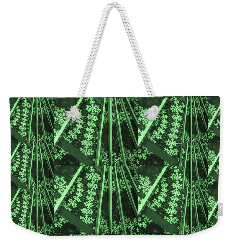 Green Weekender Tote Bag featuring the mixed media Artistic Sparkle Floral Green Graphic Art Very Elegant One Of A Kind Work That Will Show Great On An by Navin Joshi