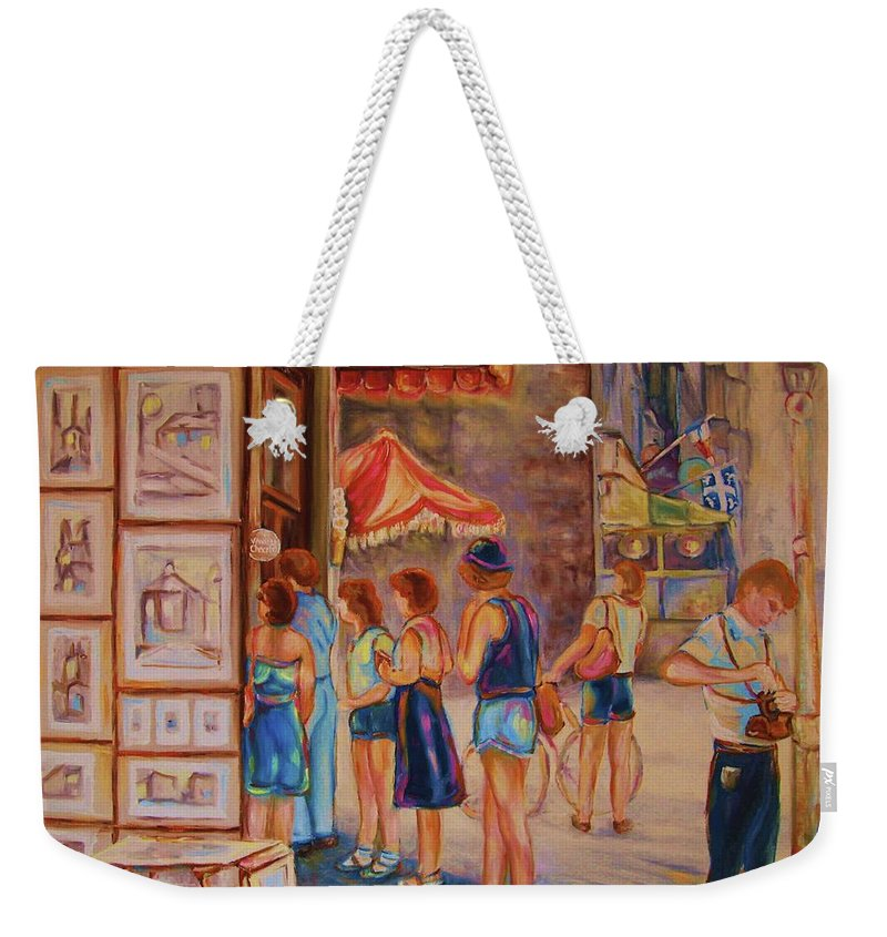 Old Montreal City Scenes Weekender Tote Bag featuring the painting Artists Corner Rue St Jacques by Carole Spandau