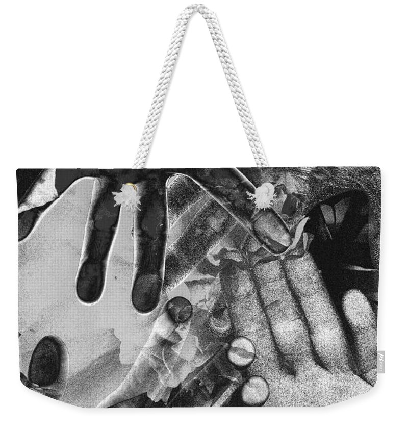 Hands Weekender Tote Bag featuring the photograph Artist's Hands by Nancy Mueller