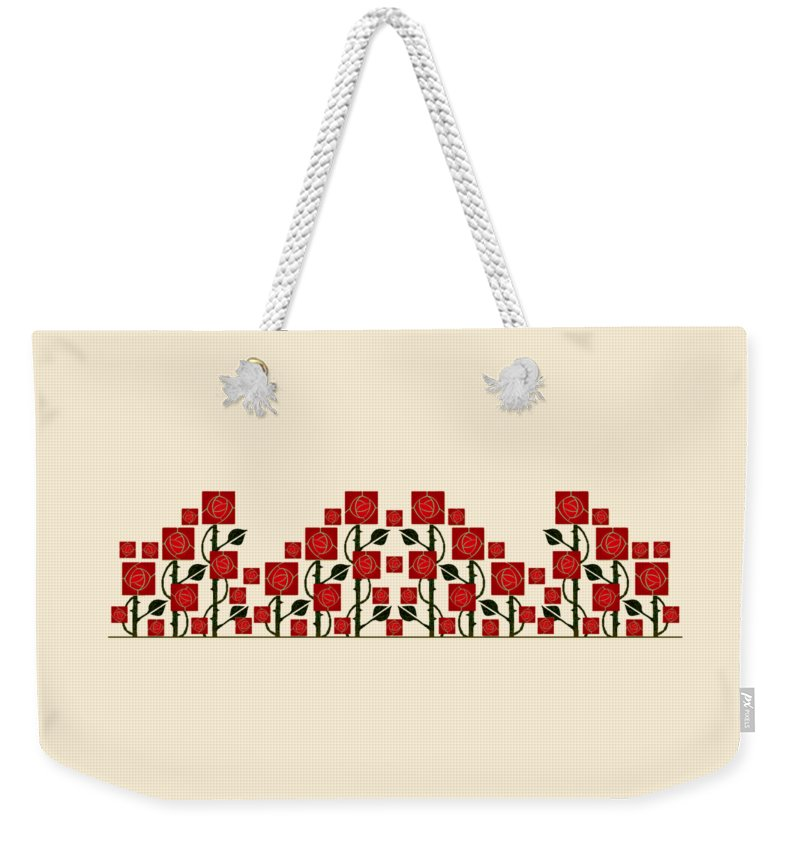 Arts & Crafts Weekender Tote Bag featuring the digital art Arts And Crafts Rose Garden by Melissa A Benson