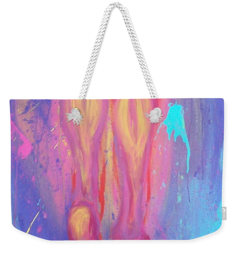 Blue Weekender Tote Bag featuring the painting Artwalk by Laurette Escobar
