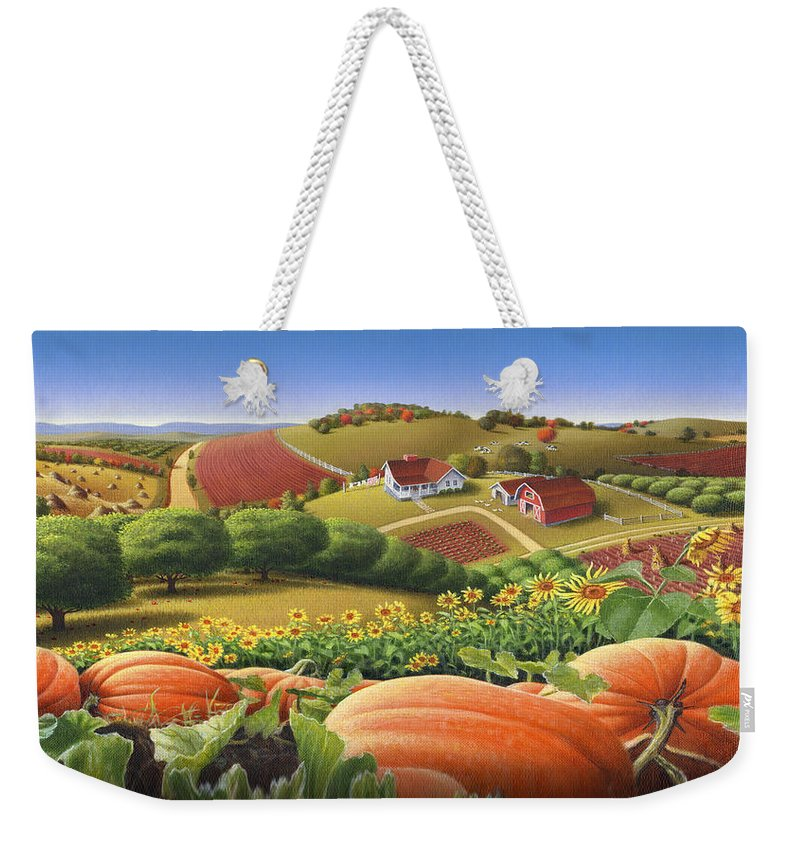 Pumpkin Weekender Tote Bag featuring the painting Farm Landscape - Autumn Rural Country Pumpkins Folk Art - Appalachian Americana - Fall Pumpkin Patch by Walt Curlee