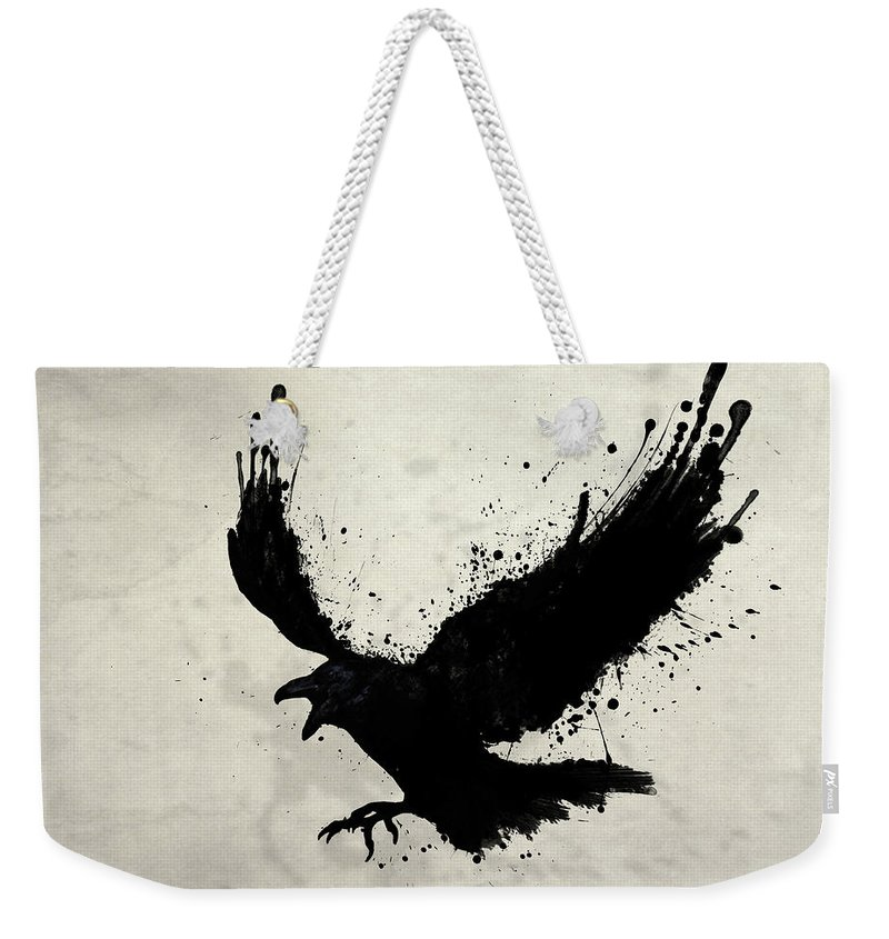 Raven Weekender Tote Bag featuring the digital art Raven by Nicklas Gustafsson