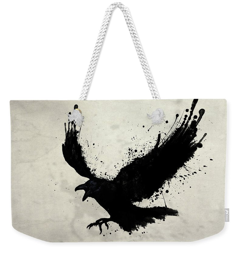Raven Weekender Tote Bag featuring the digital art Raven by Nicklas Gustafsson