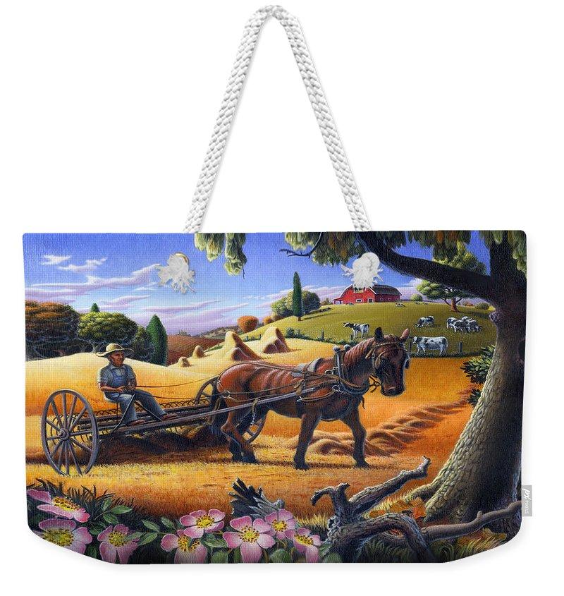 Raking Hay Weekender Tote Bag featuring the painting Raking Hay Field Rustic Country Farm Folk Art Landscape by Walt Curlee