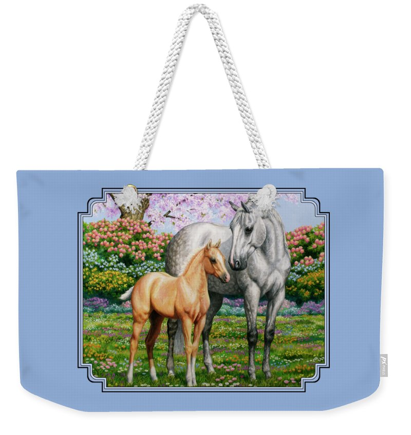 Horse Weekender Tote Bag featuring the painting Spring's Gift - Mare And Foal by Crista Forest