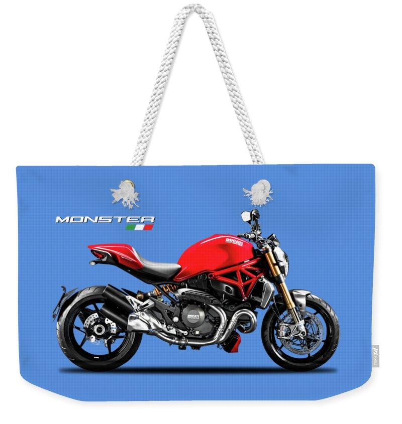 Ducati Monster Weekender Tote Bag featuring the digital art Ducati Monster by Mark Rogan