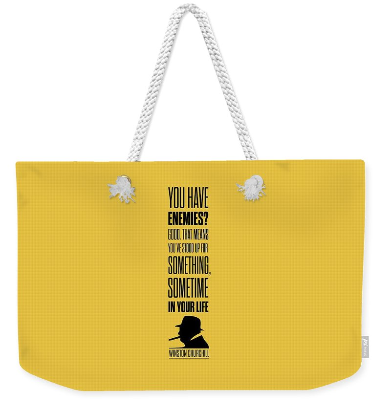 Winston Churchill Weekender Tote Bag featuring the digital art Winston Churchill Inspirational Quotes Poster by Lab No 4 - The Quotography Department