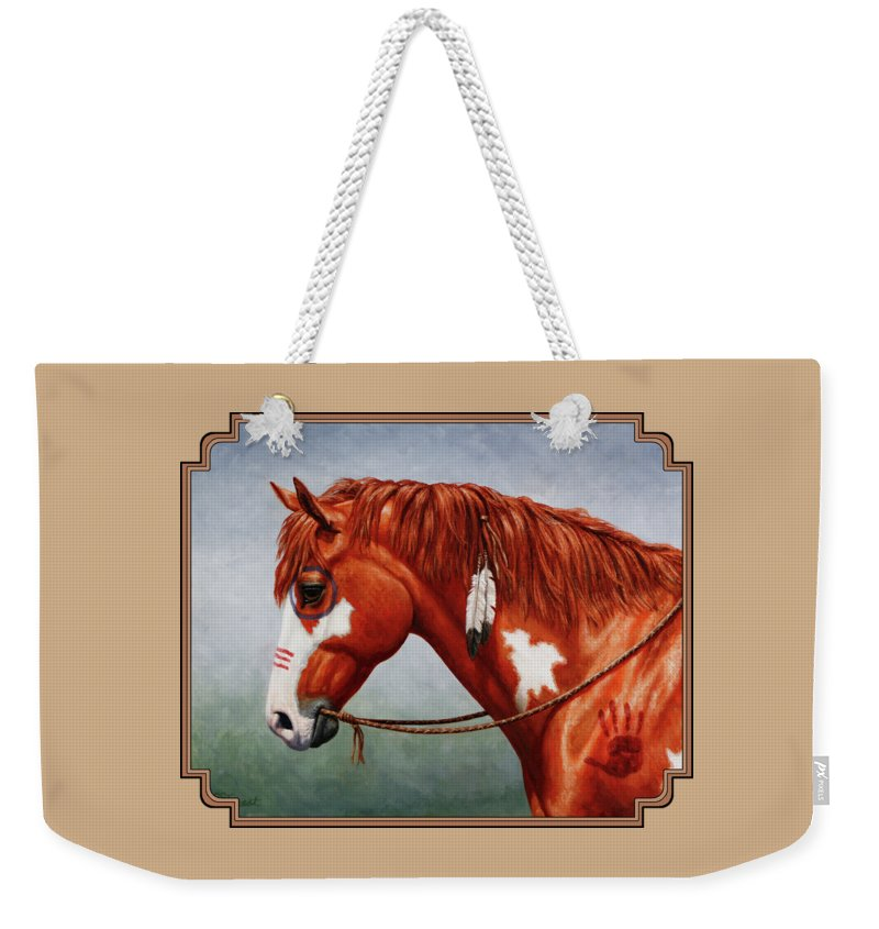Horse Weekender Tote Bag featuring the painting Native American War Horse by Crista Forest