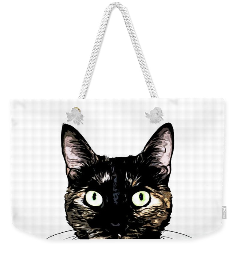 Cat Weekender Tote Bag featuring the mixed media Peeking Cat by Nicklas Gustafsson