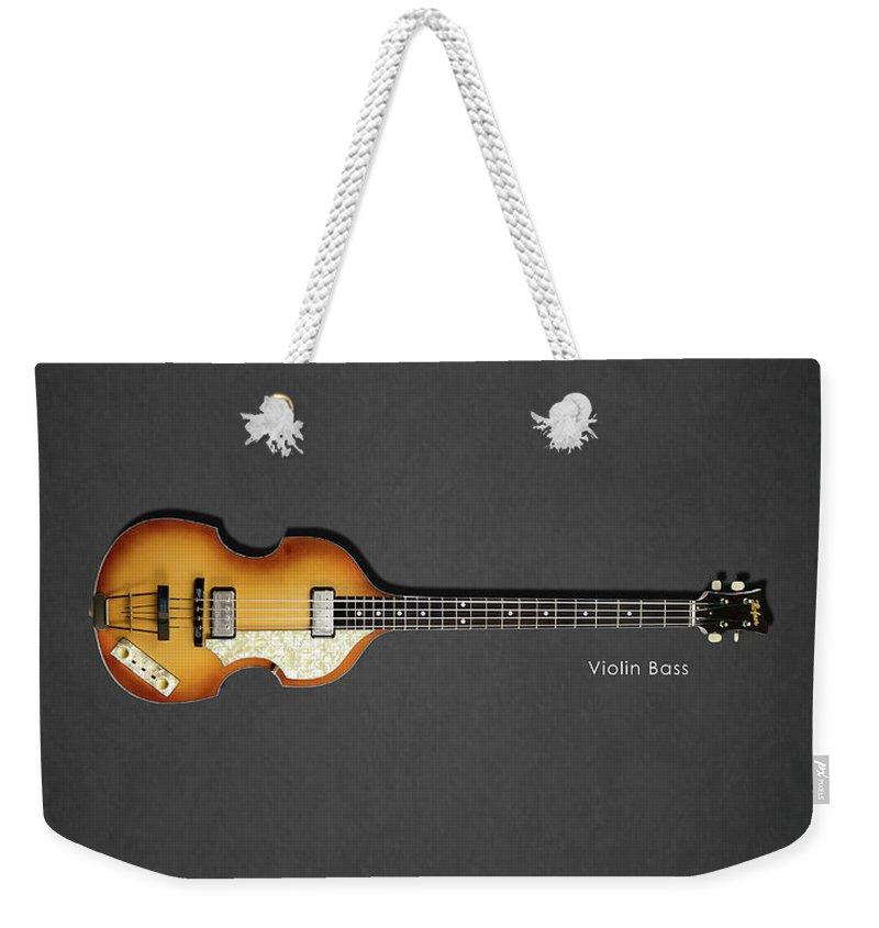 Hofner Violin Bass Weekender Tote Bag featuring the photograph Hofner Violin Bass 62 by Mark Rogan
