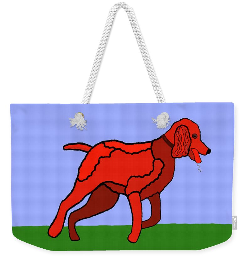 Poodle Weekender Tote Bag featuring the painting Cartoon Romping Miniature Apricot Poodle by Marian Cates