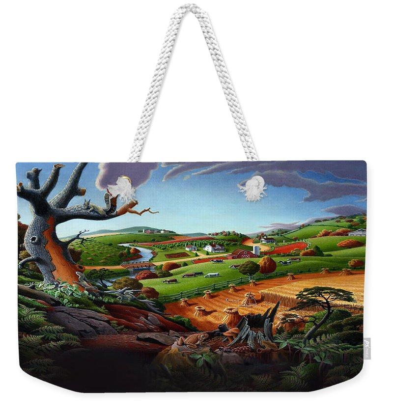 Appalachian Weekender Tote Bag featuring the painting Appalachian Fall Thanksgiving Wheat Field Harvest Farm Landscape Painting - Rural Americana - Autumn by Walt Curlee