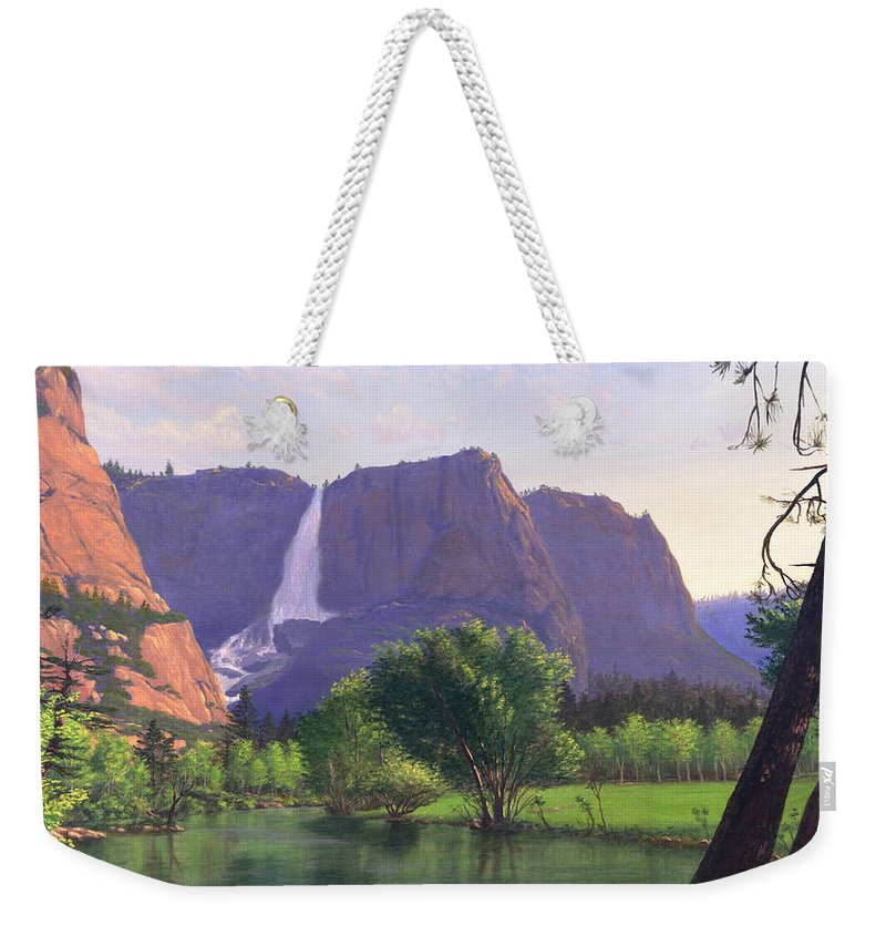 Waterfall Weekender Tote Bag featuring the painting Mountains Waterfall Stream Western Mountain Landscape Oil Painting by Walt Curlee