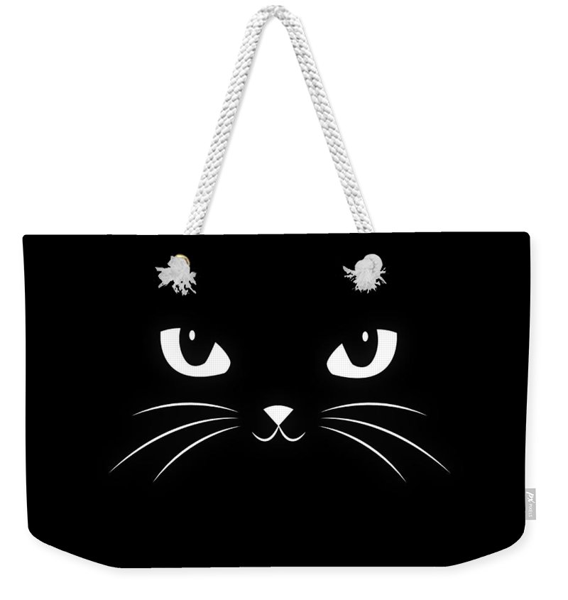 Cat Weekender Tote Bag featuring the digital art Cute Black Cat by Philipp Rietz