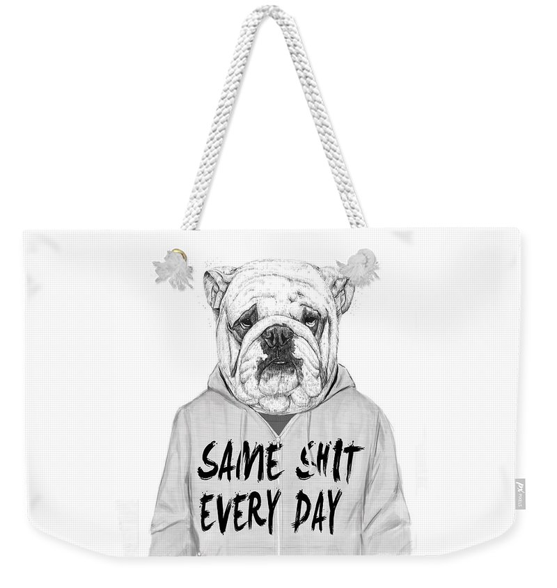 Dog Weekender Tote Bag featuring the mixed media Same shit... by Balazs Solti
