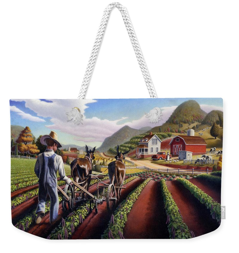 Appalachian Weekender Tote Bag featuring the painting Appalachian Folk Art Summer Farmer Cultivating Peas Farm Farming Landscape Appalachia Americana by Walt Curlee