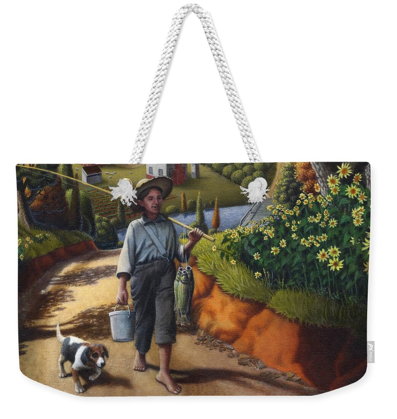 Boy And Dog Weekender Tote Bag featuring the painting Boy And Dog Farm Landscape - Flashback - Childhood Memories - Americana - Painting - Walt Curlee by Walt Curlee