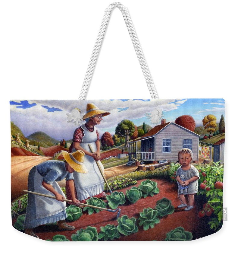 Farm Family Weekender Tote Bag featuring the painting Family Vegetable Garden Farm Landscape - Gardening - Childhood Memories - Flashback - Homestead by Walt Curlee
