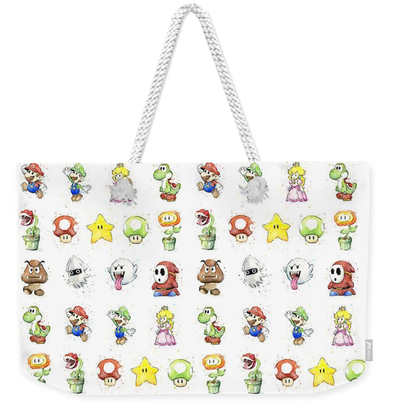 Mario Weekender Tote Bag featuring the painting Mario Characters in Watercolor by Olga Shvartsur