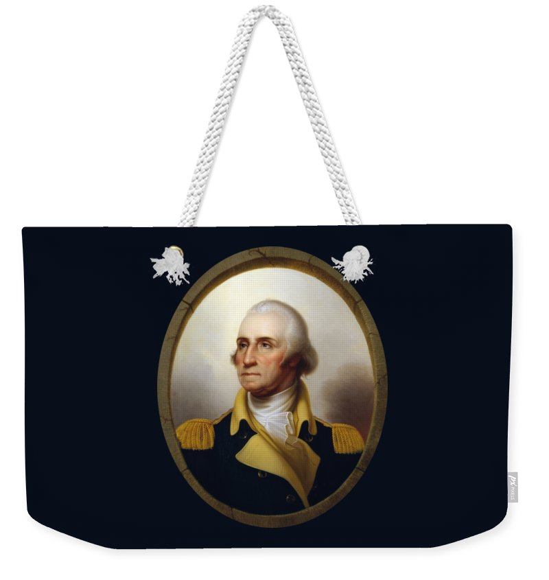 George Washington Weekender Tote Bag featuring the painting General Washington - Porthole Portrait by War Is Hell Store