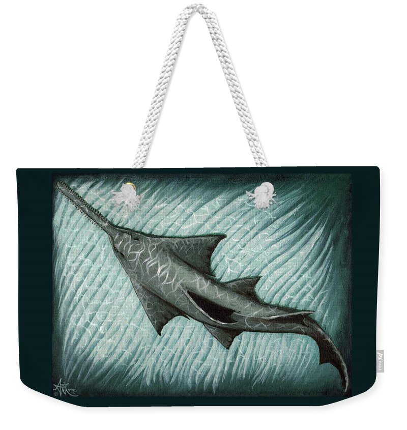 Sawfish Weekender Tote Bag featuring the painting Sawfish by Amber Marine