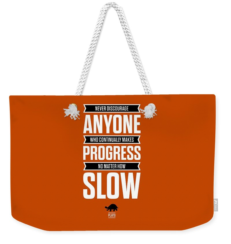 Inspirational Quote Weekender Tote Bag featuring the digital art Never Discourage Anyone Motivating Quotes poster by Lab No 4