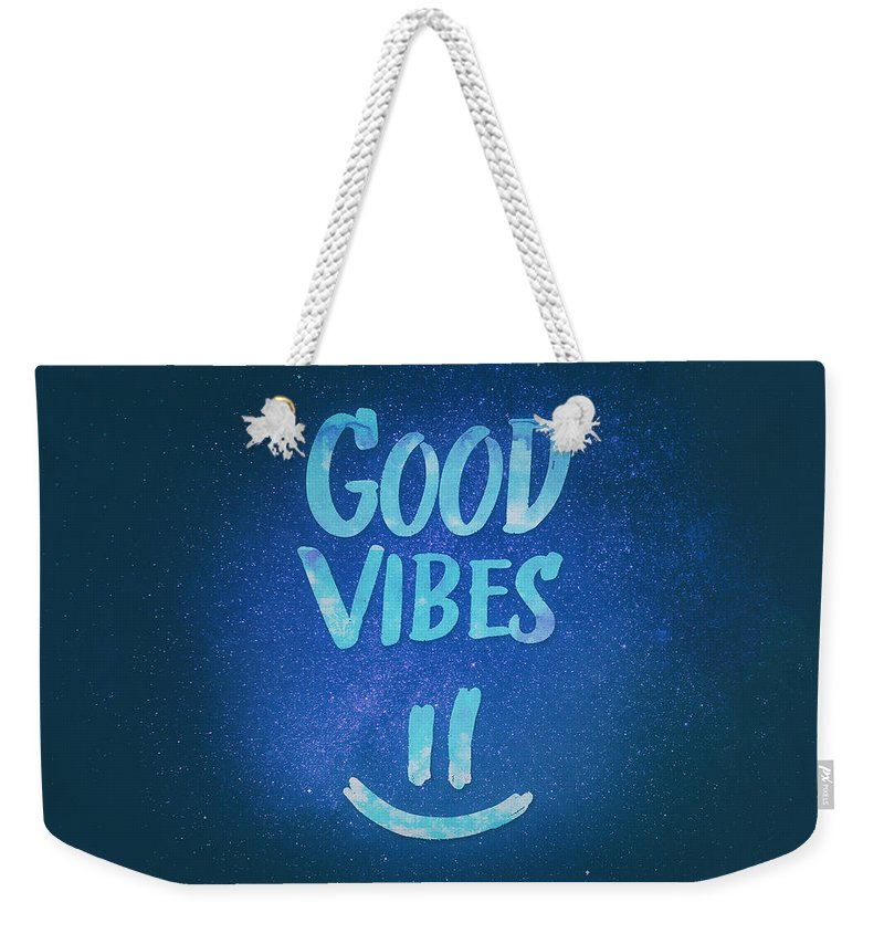 Good Vibes Weekender Tote Bag featuring the digital art Good Vibes Funny Smiley Statement Happy Face Blue Stars Edit by Philipp Rietz