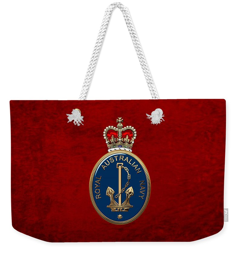 'australian Insignia & Heraldry' Collection By Serge Averbukh Weekender Tote Bag featuring the digital art Royal Australian Navy - R A N Badge Over Red Velvet by Serge Averbukh