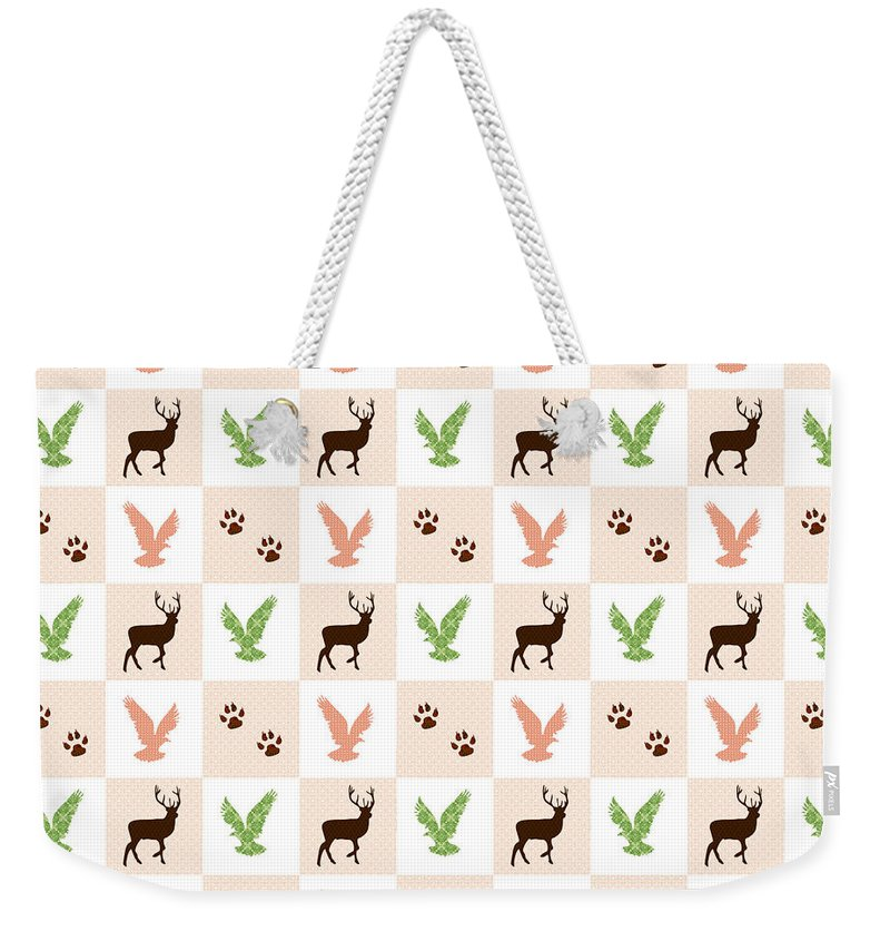 Rustic Wildlife Weekender Tote Bag featuring the mixed media Rustic Wildlife Pattern by Christina Rollo