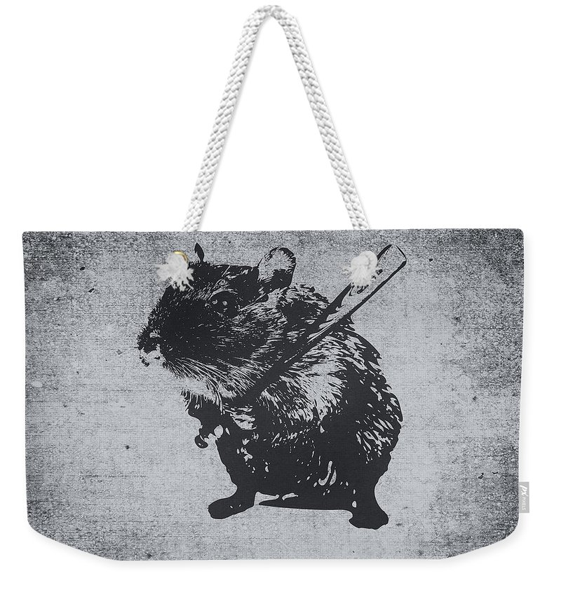 Cute Weekender Tote Bag featuring the painting Angry street art mouse hamster baseball edit by Philipp Rietz