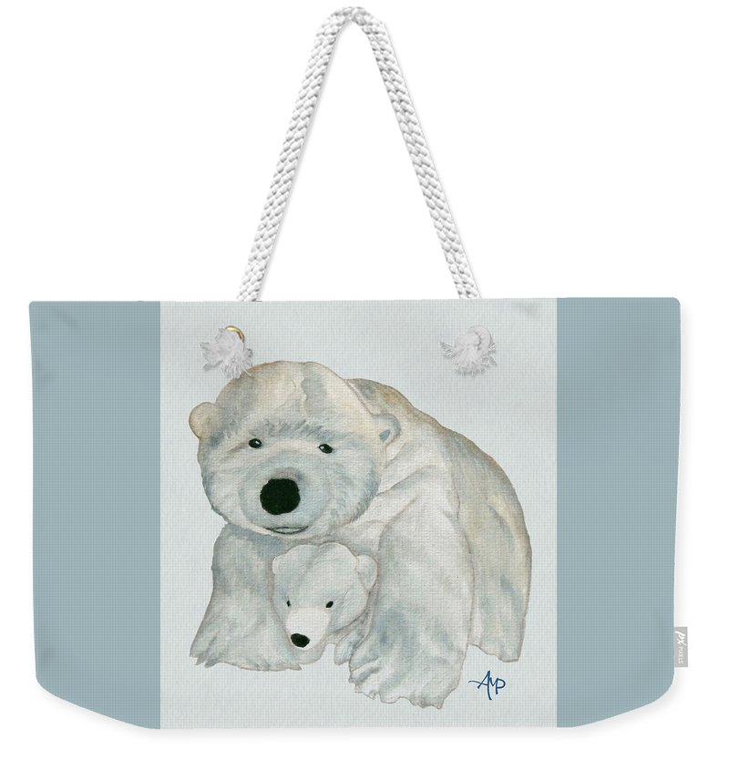 Polar Bear Weekender Tote Bag featuring the painting Cuddly Polar Bear Watercolor by Angeles M Pomata