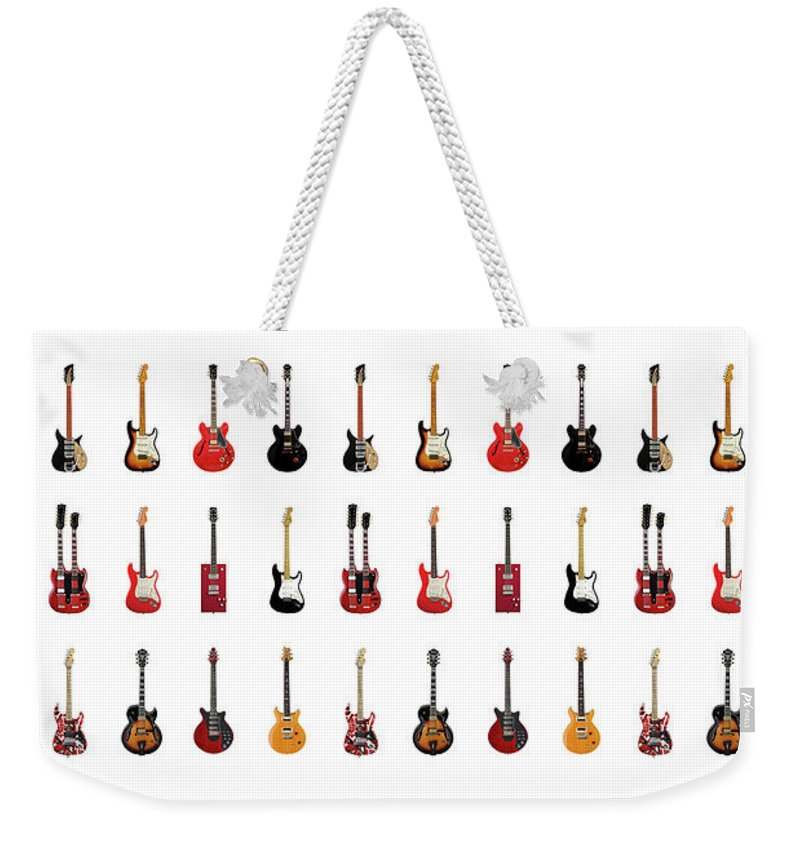 Fender Stratocaster Weekender Tote Bag featuring the photograph Guitar Icons No2 by Mark Rogan