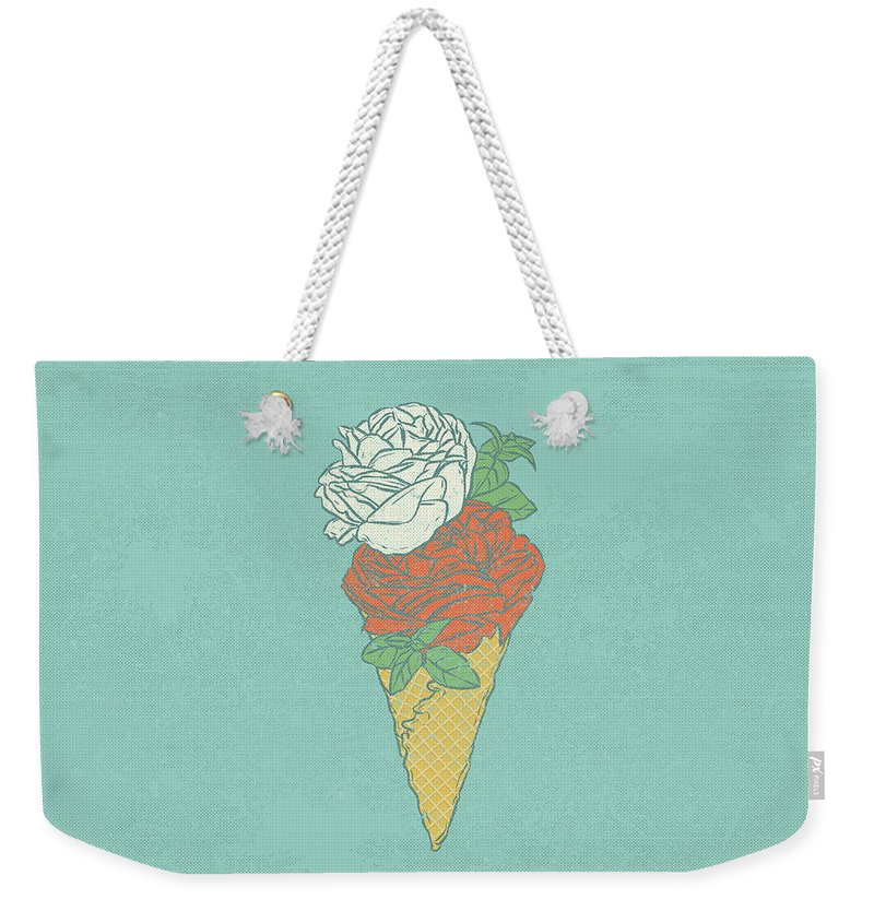 Pink Weekender Tote Bag featuring the digital art Rose Ice Cream by Evgenia Chuvardina
