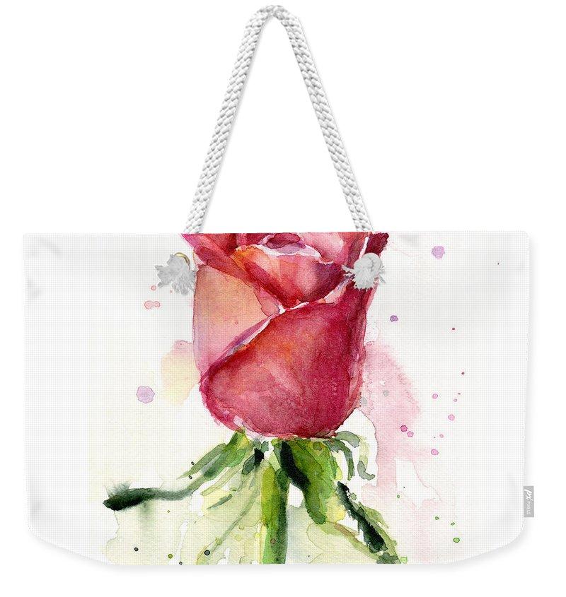 Rose Weekender Tote Bag featuring the painting Rose Watercolor by Olga Shvartsur