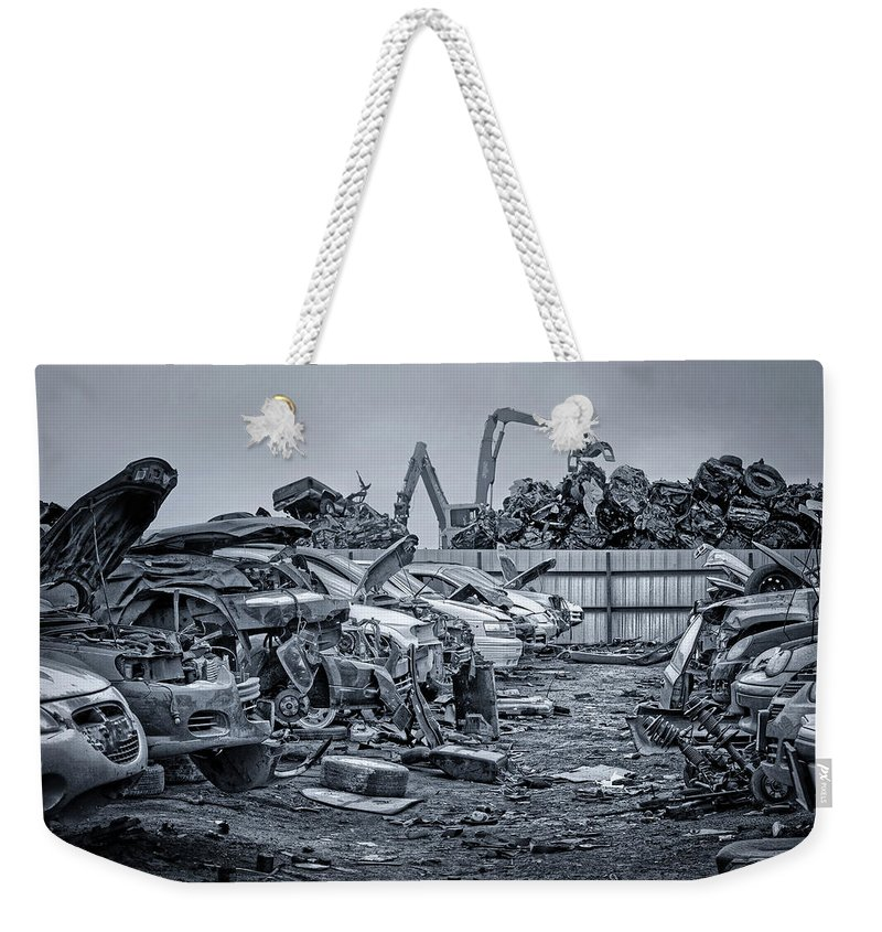 Salvage Yard Weekender Tote Bag featuring the photograph Last Journey - Salvage Yard by Nikolyn McDonald