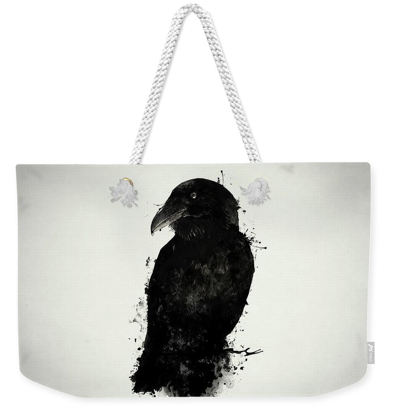 Raven Weekender Tote Bag featuring the mixed media The Raven by Nicklas Gustafsson