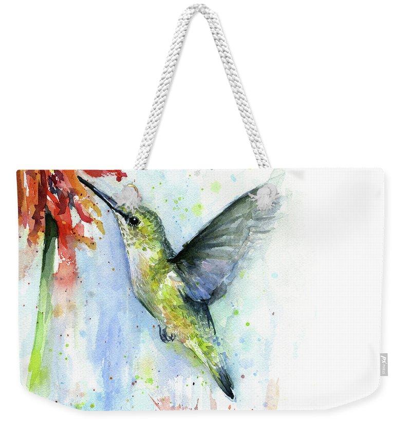 Watercolor Weekender Tote Bag featuring the painting Hummingbird And Red Flower Watercolor by Olga Shvartsur