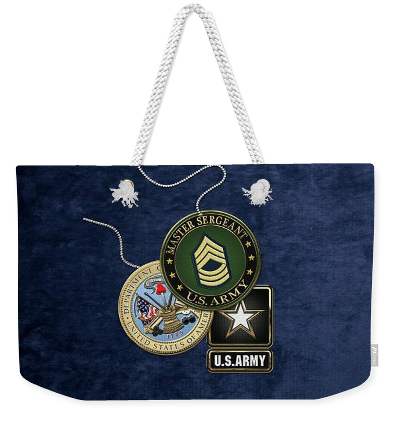 Military Insignia & Heraldry Collection By Serge Averbukh Weekender Tote Bag featuring the digital art U. S. Army Master Sergeant  - M S G Rank Insignia With Army Seal And Logo Over Blue Velvet by Serge Averbukh