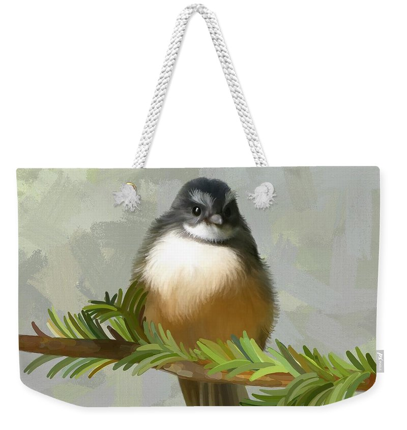 Bird Weekender Tote Bag featuring the painting Fantail by Ivana Westin