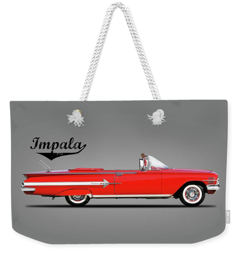 Chevrolet Weekender Tote Bag featuring the photograph Chevrolet Impala 1960 by Mark Rogan