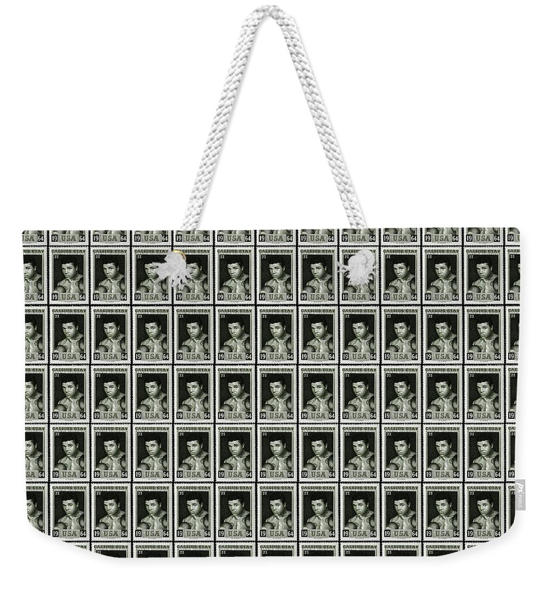 Cassius Clay Weekender Tote Bag featuring the photograph Cassius Clay World Champion Stamp by Mark Rogan