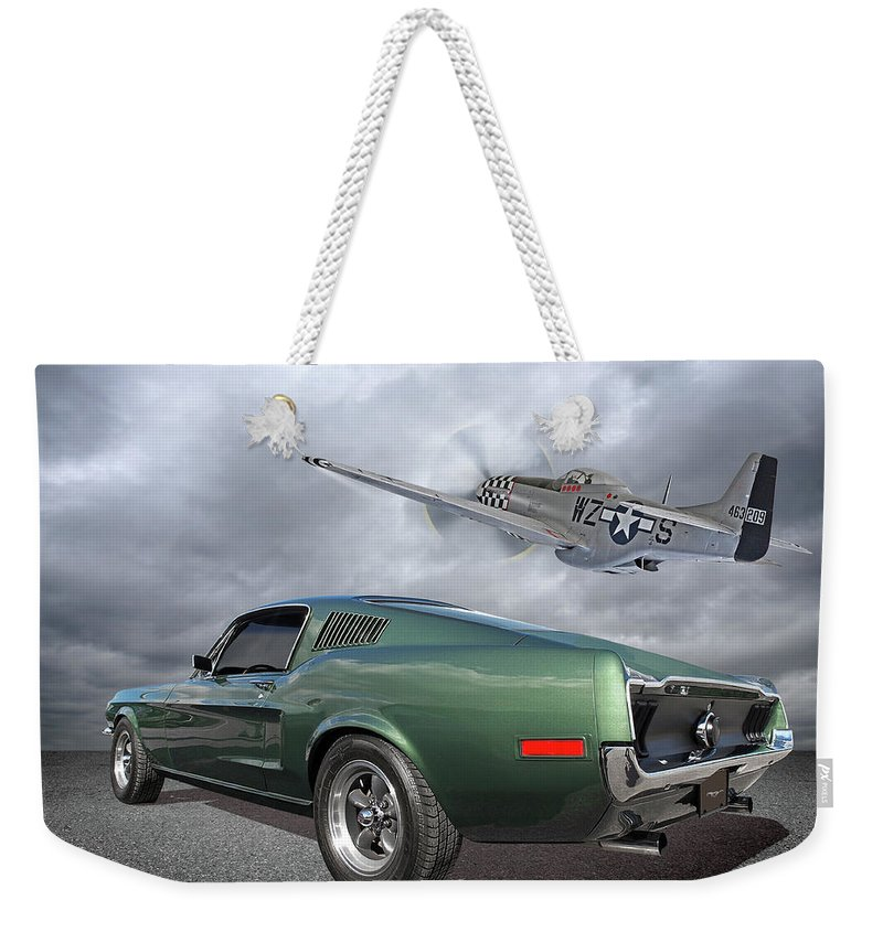 Ford Mustang Weekender Tote Bag featuring the photograph P51 With Bullitt Mustang by Gill Billington