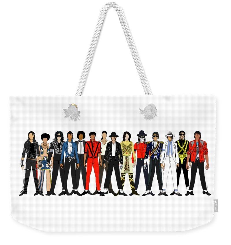 Michael Jackson Weekender Tote Bag featuring the digital art Outfits of Michael Jackson by Notsniw Art
