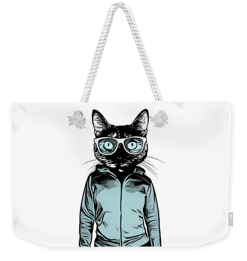 Cat Weekender Tote Bag featuring the mixed media Cool Cat by Nicklas Gustafsson