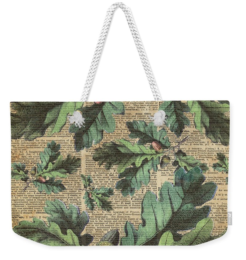 Dictionary Weekender Tote Bag featuring the digital art Oak Tree Leaves And Acorns, Autumn Dictionary Art by Anna W