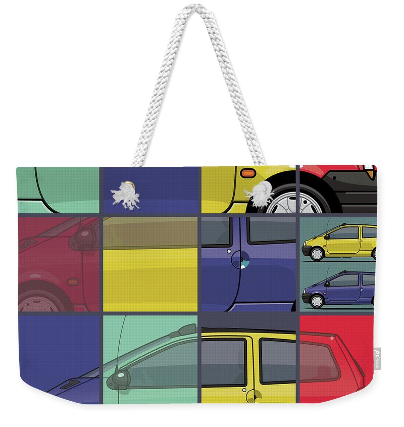 Car Weekender Tote Bag featuring the digital art Renault Twingo 90s Colors Quartet by Monkey Crisis On Mars
