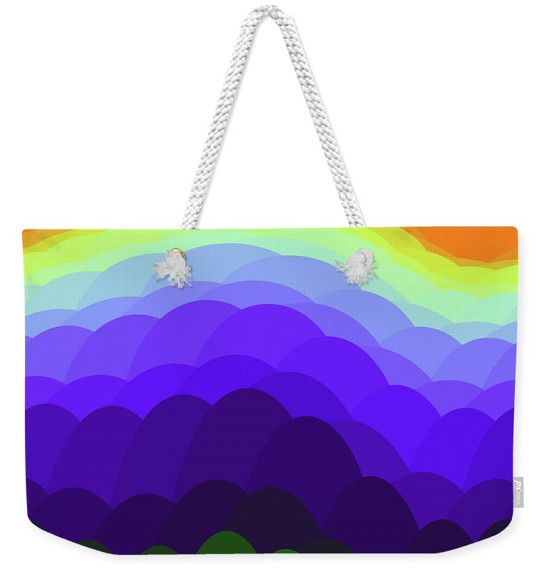 Sunset Over Water Weekender Tote Bag featuring the painting Sunset Over Water by Methune Hively