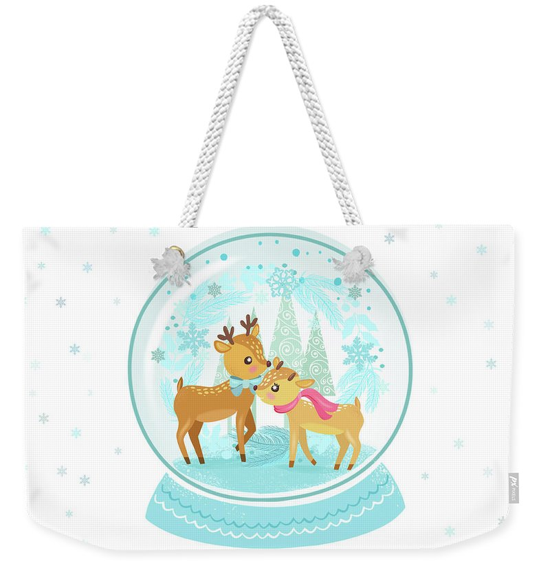 Snow Weekender Tote Bag featuring the painting Winter Wonderland Snow Globe by Little Bunny Sunshine